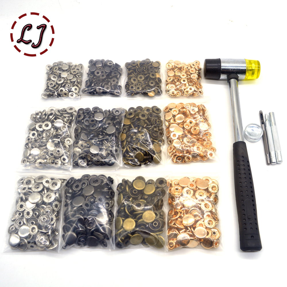 4 colors(each 30sets) Snap Buttons+4 Tools Metal Press Studs Snap Fasteners for Sewing Leathercraft Clothes Bags Bracelet Belt(China)