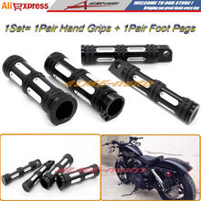 Motorcycle Accessories CNC Aluminum 1 handlebar hand grips Foot Pegs for harley Davidson Sportster XL883 XL1200