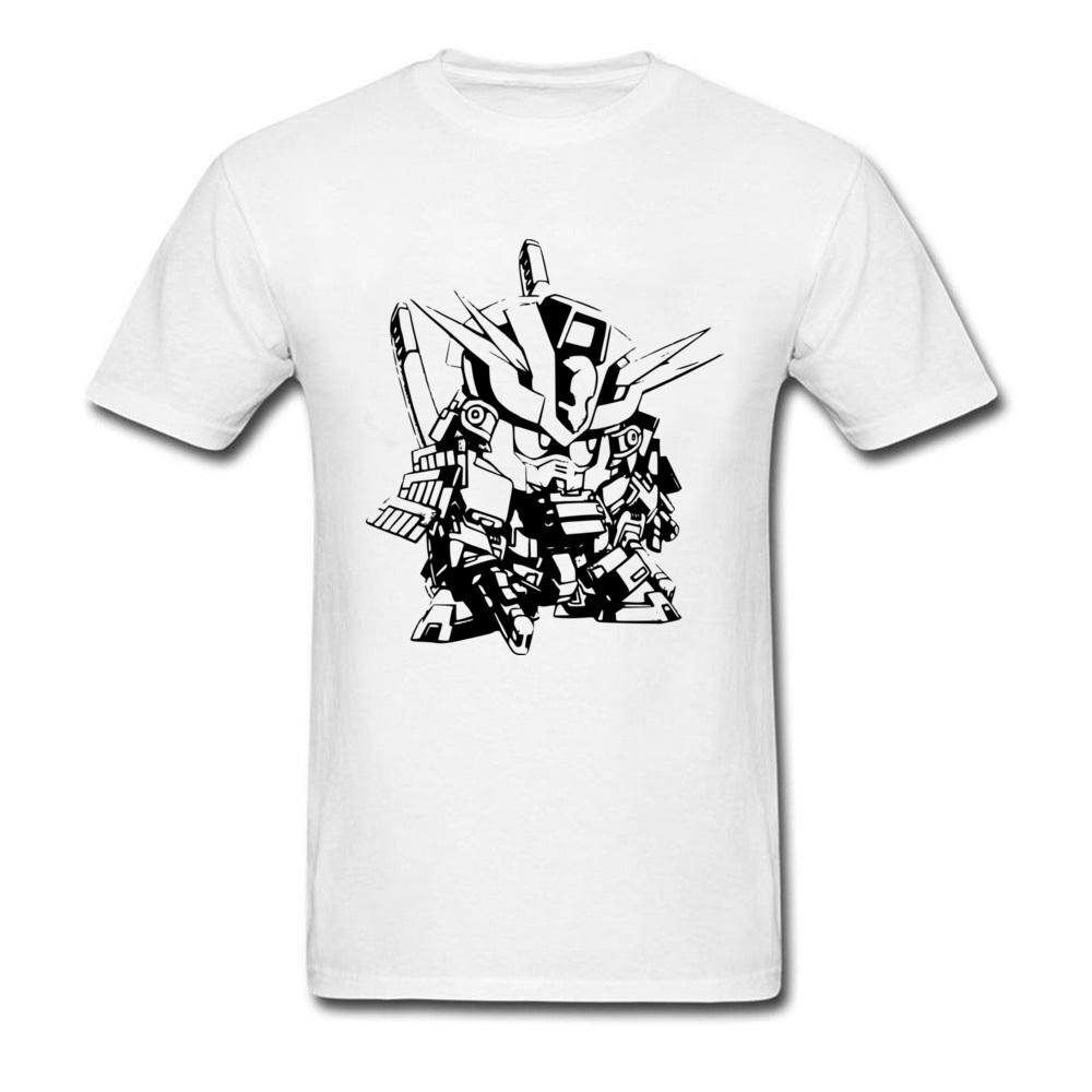 Mecha Battousai 2018 Men Black White T-shirt Cool Robot Warrior Cartoon Drawing Top T Shirt O-neck Cotton Clothes