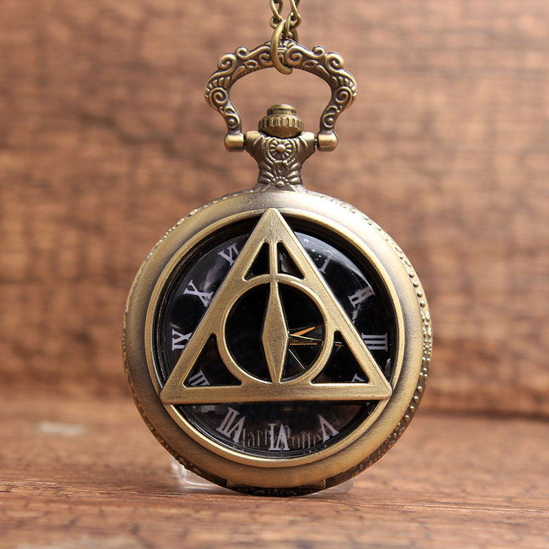 Bronze Star Wars Harry Potter Quartz Pocket Watch Retro Watch Fob Pendant Chain Watch Men Watch Clock Necklace Chain retro steampunk bronze pocket watch eagle wings hollow quartz fob watch necklace pendant chain antique clock men women gift