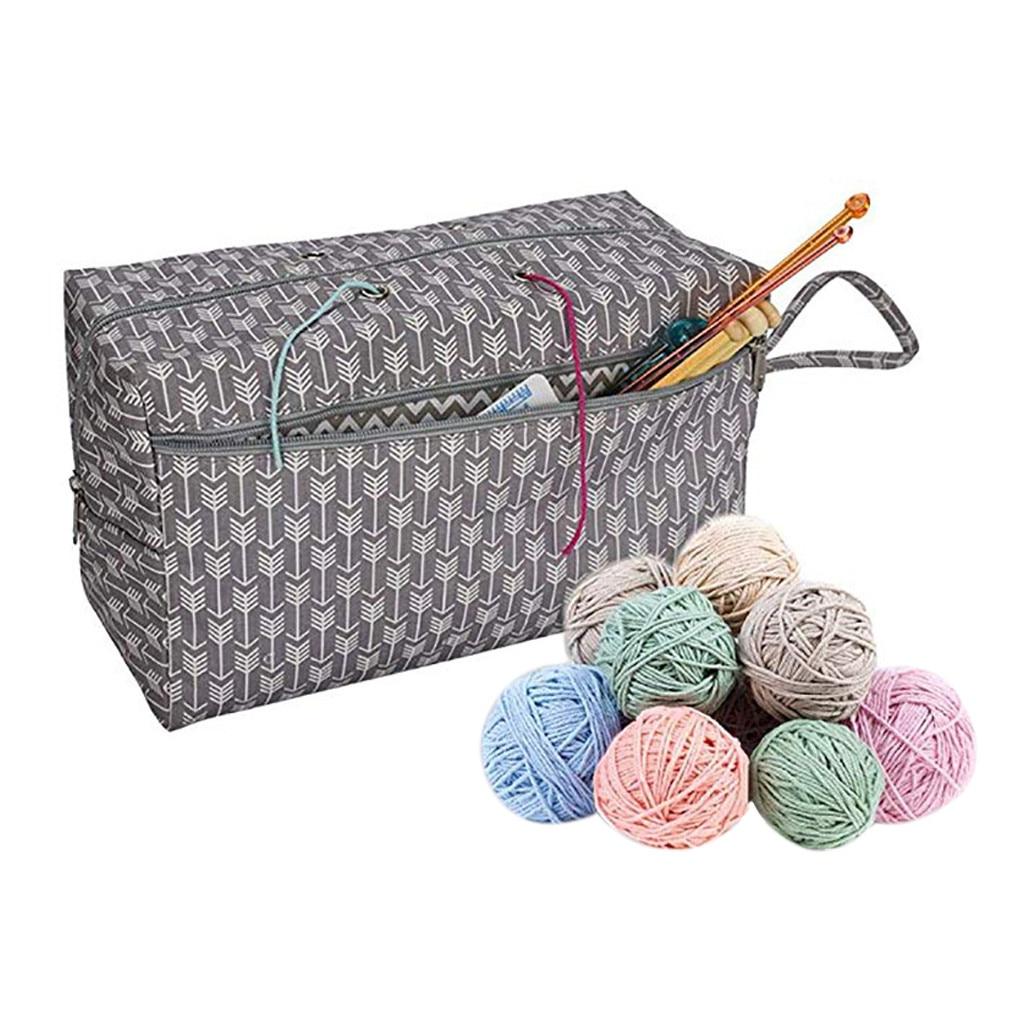 Borsa Lavoro A Maglia Lane E Filati Di Stoccaggio Mestiere Tote Divisorio Interno Per La Lana Crochet Aghi Stile (In) Alla Moda;
