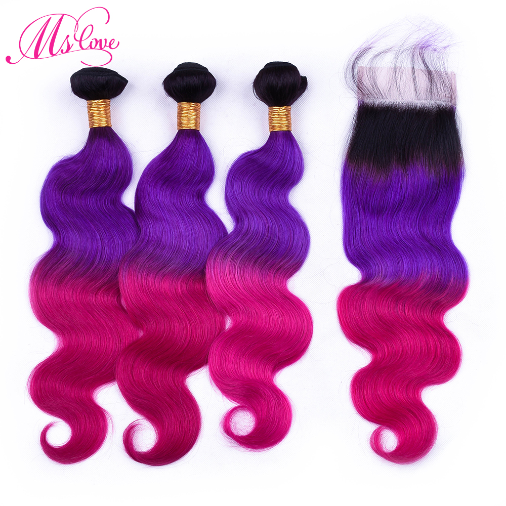Ms Love Hair Body Wave Bundles With Closure T1b Purple Red Ombre Color Remy Brazilian Human Hair Body Wave With Closure 4*4 Lace