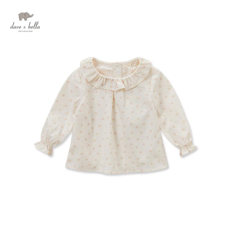 DB4097 dave bella autumn fall baby girls floral t shirt baby princess peter pan collar T-shirt baby cotton blouse girl tops band collar floral blouse