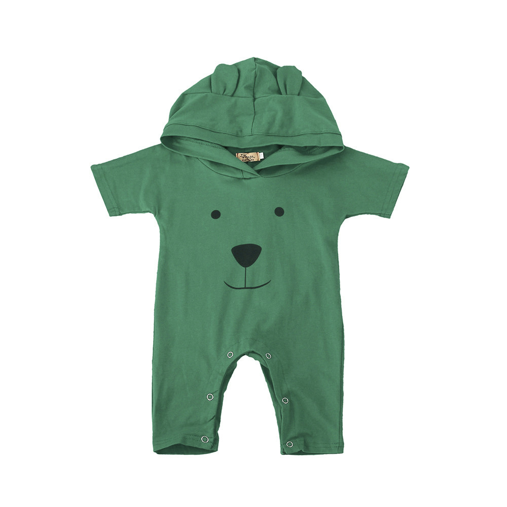 Toddler Infant Kids Baby Boy Girl Bear Hooded Romper Jumpsuit Outfits Clothes Smile Short Sleeve Baby Rompers Casual Fashion