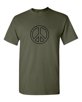 Peace T Shirt CND logo retro and hippy Top Tee 100% Cotton Humor Men Crewneck Tee Shirts Shirt Black Style