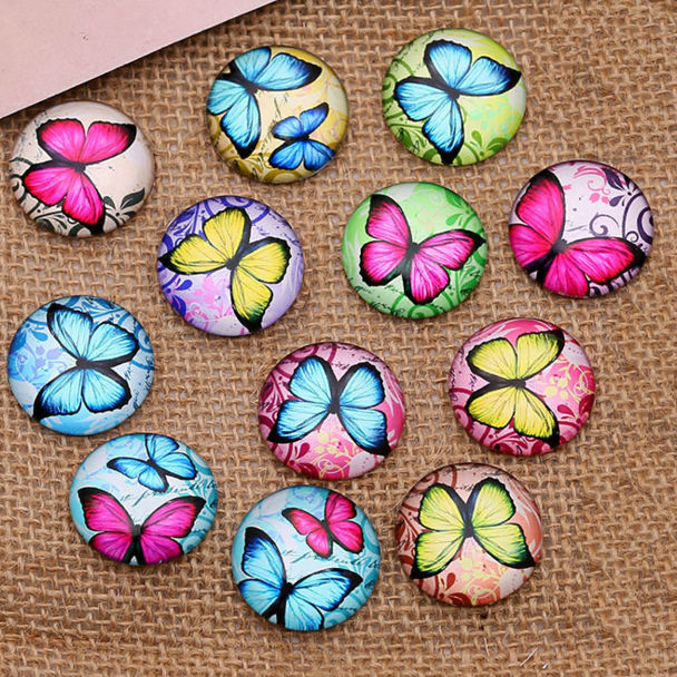 Hot Sale 24pcs 12mm 14mm 16mm  Butterfly Pattern Round  Handmade Photo Glass Cabochons & Glass Dome Cover Pendant Cameo Settings