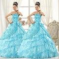 Hot Sale Strapless Vestidos De 15 Anos 2017 Embroidery Vestidos De Quinceaneras 2017 Organza Quinceanera Dresses