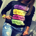 2016 Fashion Women T shirt Harajuku Macaron Print Black Punk Maternity Autumn T-Shirt Casual Kawaii Rock Autumn Tee Shirt Femme