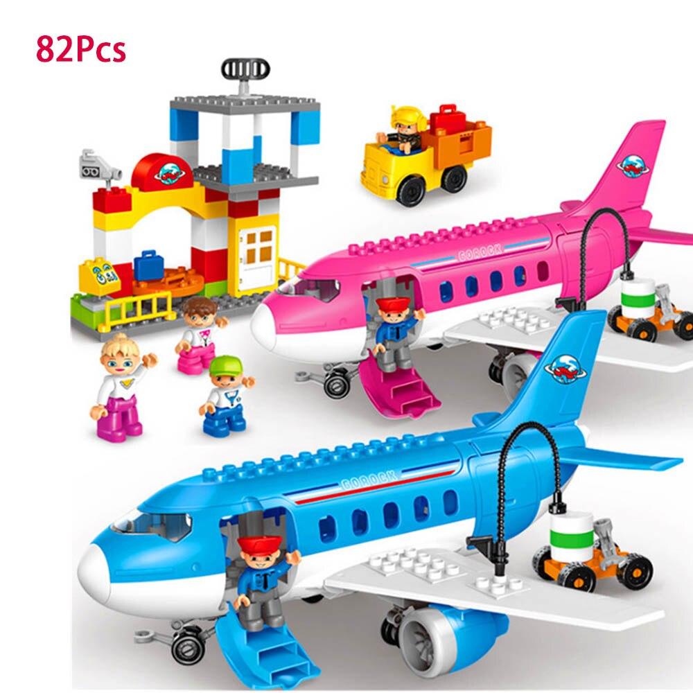 82 Pcs Cartoon Blue Plane Helicopter Car Bus Big Building Blocks Sets DIY Toys Compatible with Legoed Duploe Minecraft Boy Toy new big size 40 40cm blocks diy baseplate 50 50 dots diy small bricks building blocks base plate green grey blue