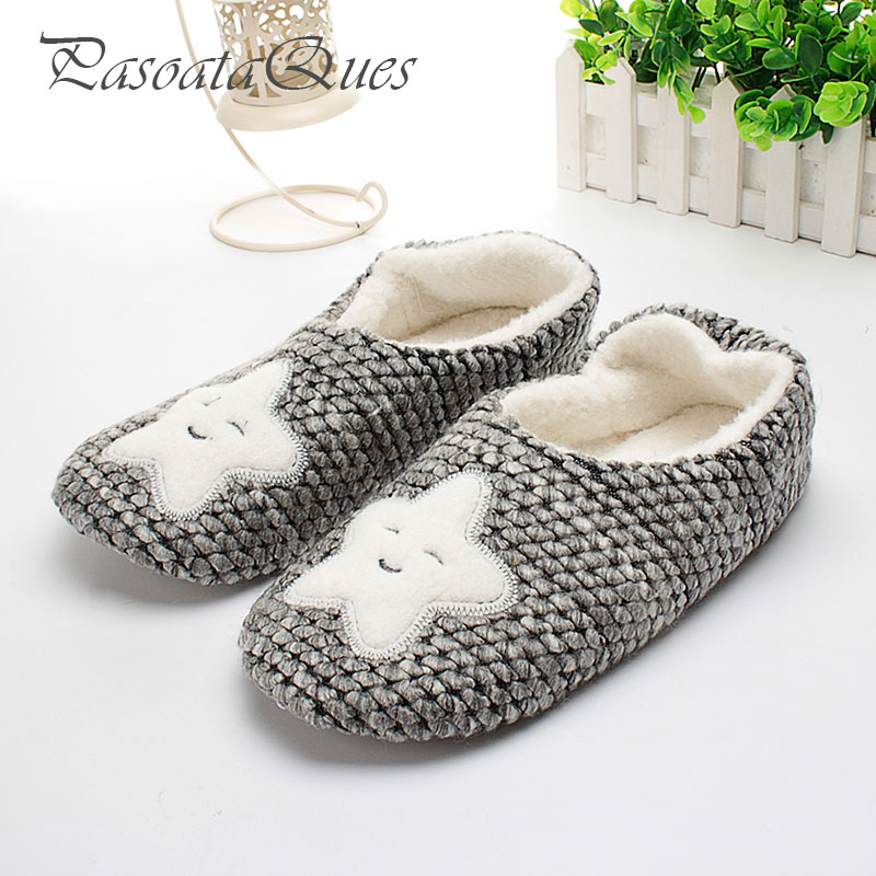 Star Pattern Winter Home Slippers Women House Shoes Female