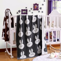 Knit Crochet Stroller Blankets Rabbit Pattern Baby Cotton Swaddle Bedding Double Side Kids Soft Luxurious