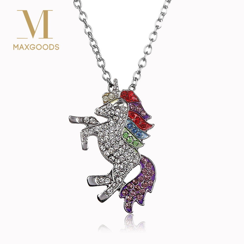 1 Pcs Lovely Crystal Unicorn Necklaces & Pendants Trendy Jewelry For Women Baby Gifts for Girls Rainbow Animal Necklace