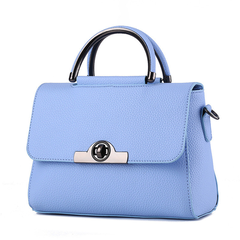 Fashion Cusual PU Women Handbag Sky Blue Tote Shoulder Bag Twist Turn Lock Crossbody Messenger цена