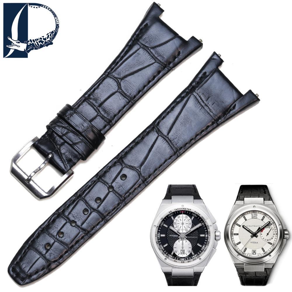 Pesno Notch End Alligator Skin Leather Watch Band for IWC Ingenieur Strap for Men 28mm Black Strap Bracelets Pin Buckle Belt