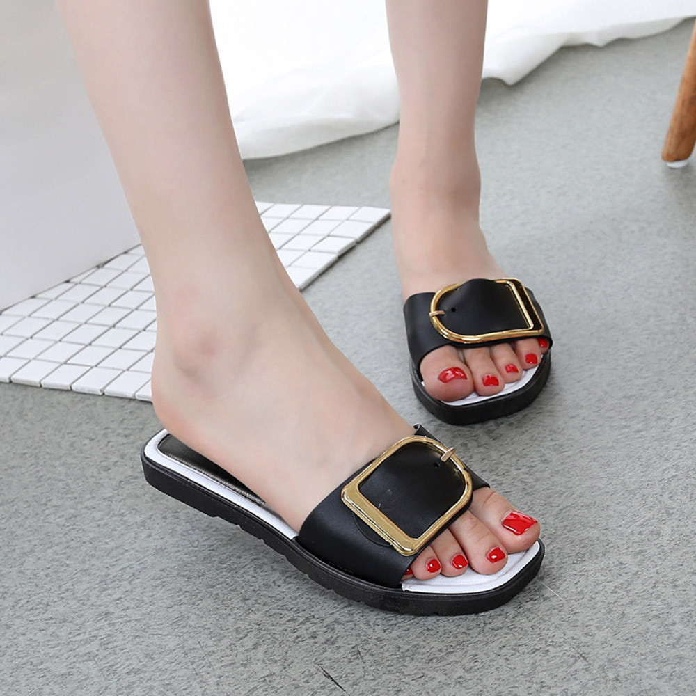 New Fashion Shoes Women Summer Slides Flat Heel Square Buckle Sandals Slipper Casual Shoes Female Casual Slipper zapatos mujer summer sandals women clogs beach slipper women shoes casual sneakers women flats sandals ladies shoes zapatos mujer