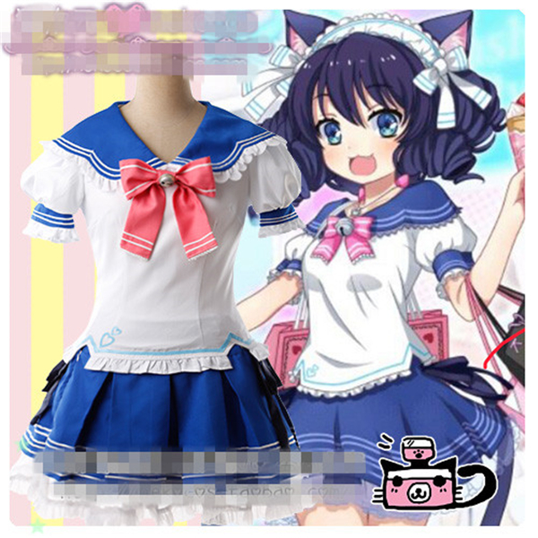 Anime SHOW BY ROCK Cyan Sailor Suit Uniform Cosplay Costume Shirt+Skirt