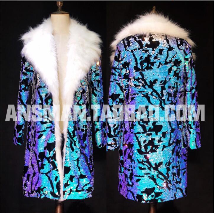 70f12777fe7 New 2019 nightclub bar male singer DJ DS personality blue sequins thick long  coat singer costume. US  119.97. 2018 autumn and winter men s clothing ...
