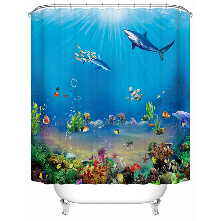 1800x1800mm Customized underwater world fish bathroom shower curtain waterproof thickening mildew bathroom curtain partition-5