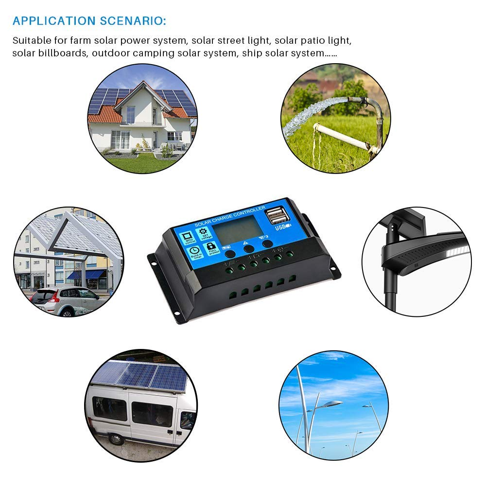 60A/50A/40A/30A/20A/10A 12V 24V Auto Solar Charge Controller PWM Controllers LCD Dual USB 5V Output Solar Panel PV Regulator