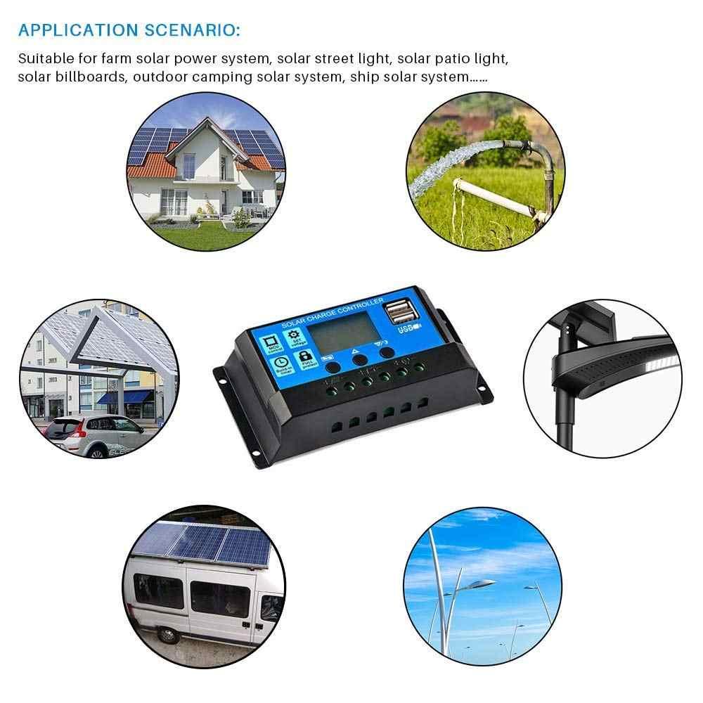 60A/50A/40A/30A/20A/10A Auto de 12V 24V controlador de carga Solar PWM controladores LCD Dual USB salida 5V Panel Solar PV regulador