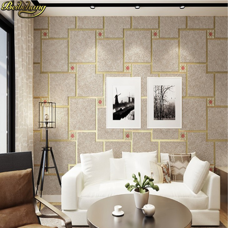 beibehang Luxury Buckskin geometric squares Wall Paper papel de parede 3D lattice wallpaper for walls 3 d home decor living room beibehang embossed damascus papel de parede 3d wallpaper for walls 3 d wall paper for living room mural home decor wall covering