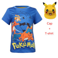 New pokemon go cotton short-sleeved round neck pullover cartoon boy t-shirt pikachu cosplay 3D printing boys and girls clothes