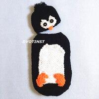 Dvotinst Baby Photography Props Crochet Knit Animals Penguin Hat Sleeping Bag Set Fotografia Accessories Infant Toddler