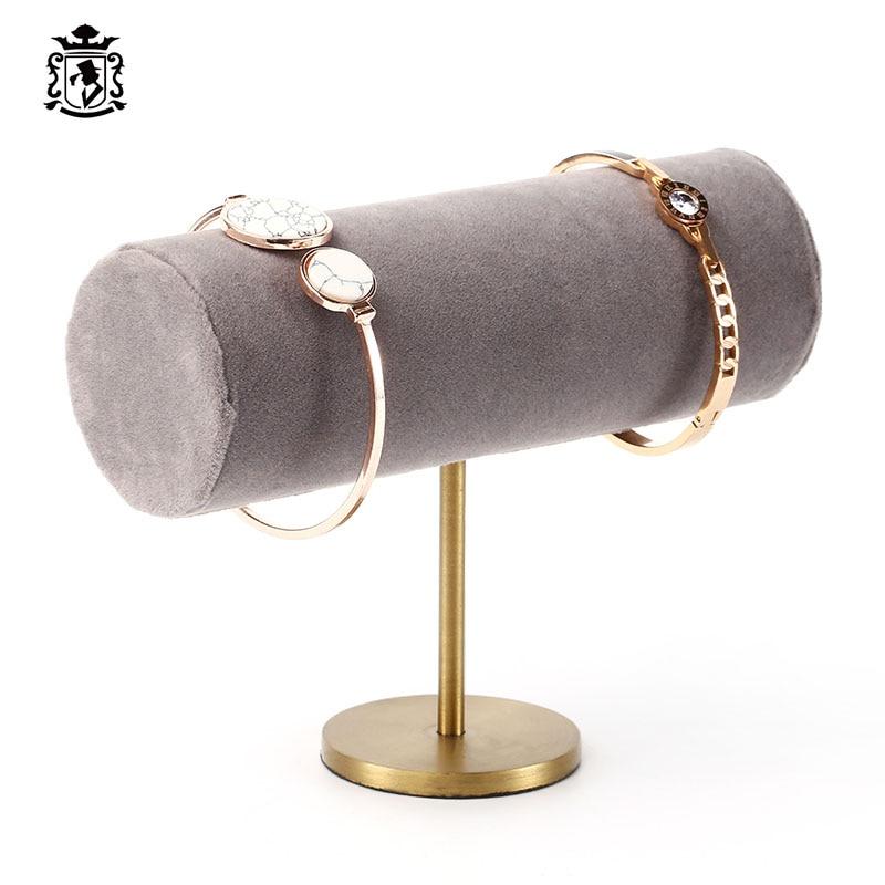 Organisateur de bijoux porte-bracelet organisateur de bijoux gris couverture de peluche support en laiton