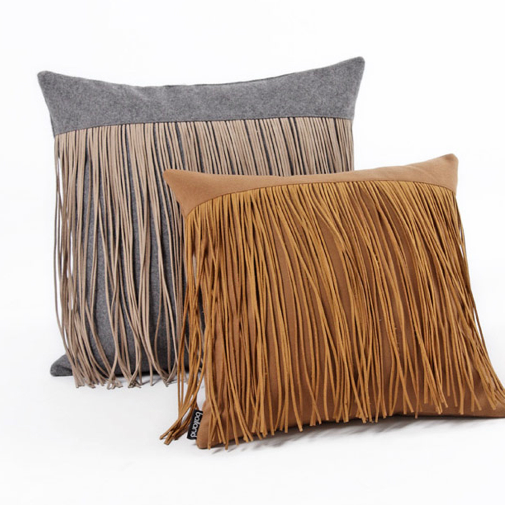 Aliexpress Com Buy Fashion Tassels Grey Brown Color Woolen Home Decoration Macrame Throw Pillow Case Pillows Covers 18 From Reliable Pillows Case Pillow