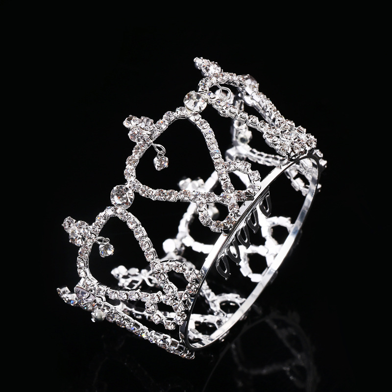 JINSE Cute Pretty Mini Crystal Rhinestone Round Tiara Crown for Bride Princess Photo Prop CR173