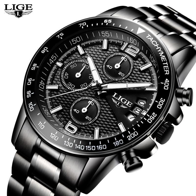 New LIGE Watches Men Luxury Brand Sport Quartz Full Steel Watch Man Waterproof Military Wrist Watches Men Fashion Black Clock