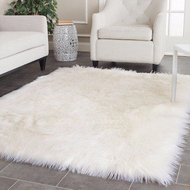 Alfombra blanca de piel de oveja de imitaci n de lana - Mantas de piel ...