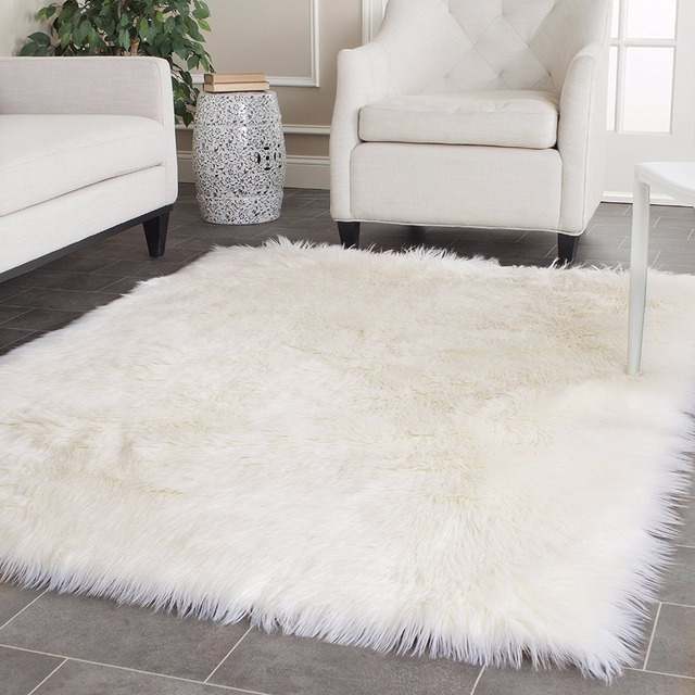 White Faux Sheepskin Rug Long Wool Faux Fur Blanket