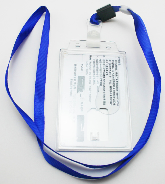 Freeshipping Blue Polyester Lanyard Neck Strap Transpa Hard Plastic Holder For Id Card Pack Of 50
