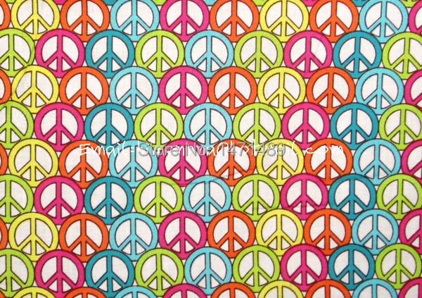 Hp012 1 Yard Cotton Woven Fabric Colorful Peace Symbol White W105