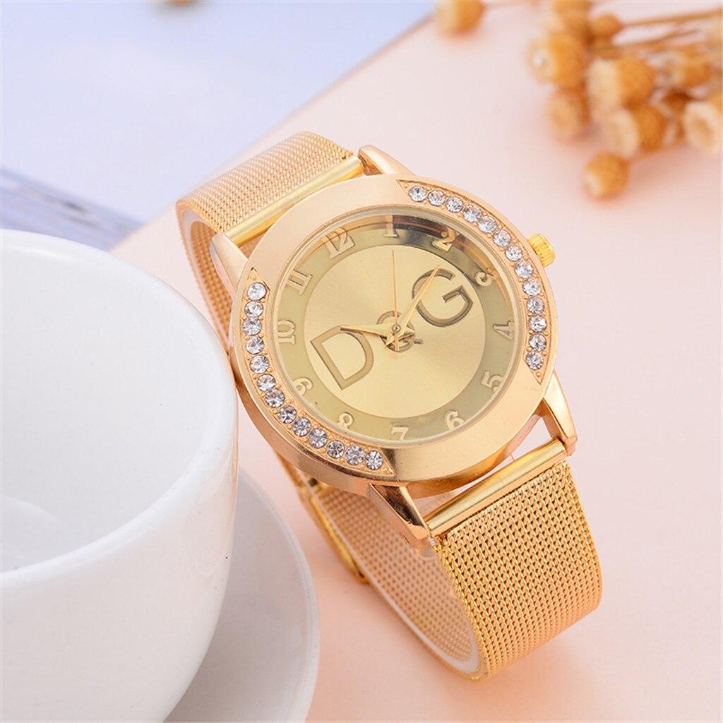Hot Dress Gold Women Watch Metal Steel Strap Luxury Brand Fashion Ladies Wristwatch Quartz Clock Female Watches Montre Femme Fi
