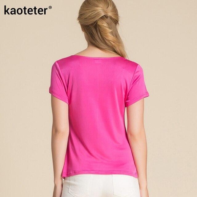 100% Pure Silk Women's T-Shirts Women Cowl Collar Wild Shirts Femme Short Sleeve Tops Woman Casual Tee Shirt Female T Shirts 2