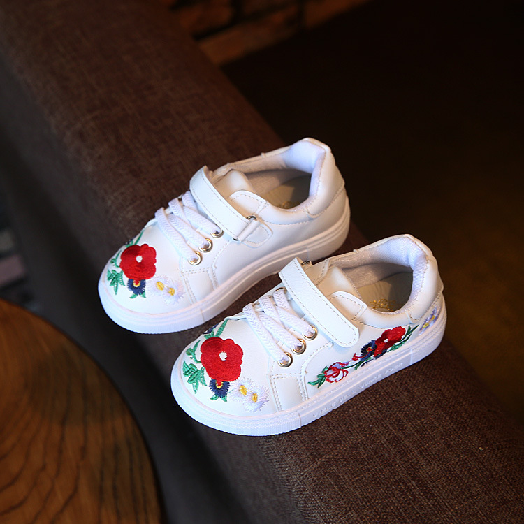 Autumn Children S Shoes Girls Sneaker Fashion Casual Shoes With Flower Handmade Embroidery Kids Girls Breathable