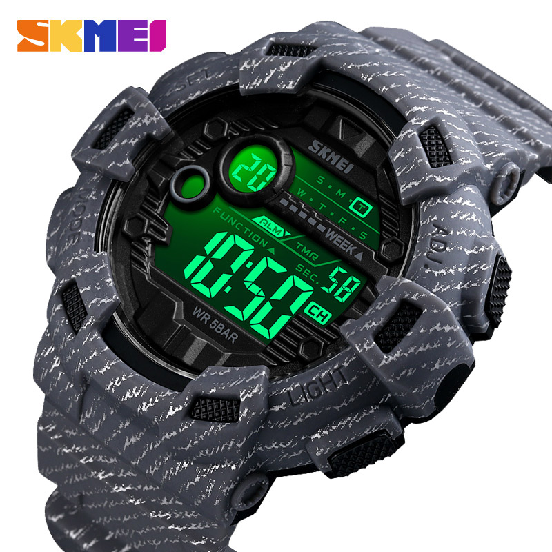 SKMEI Sport Watch Men Fashion Digital Wristwatches Mens Week Date Stopwatch Relogio Digital 2Time Countdown Montre Homme 1472