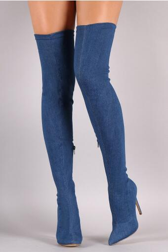 Drop Shipping Spring Hot Woman Solid Black Blue Suede Sexy Thin Heels Pointed Toe Slim Over The Knee Thigh High Boots Plus SizeDrop Shipping Spring Hot Woman Solid Black Blue Suede Sexy Thin Heels Pointed Toe Slim Over The Knee Thigh High Boots Plus Size