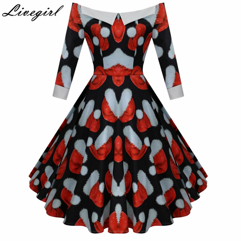 women christmas elements print dress robe vintage sexy off shoulder dress jurken 1950s 60s retro rockabilly