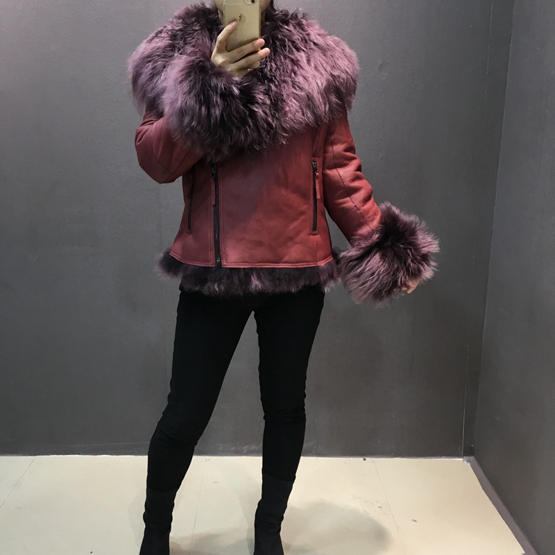 female fashion real sheep leather jacket with natural mongolia sheep fur collar warm fashion women animal skin leather out coats