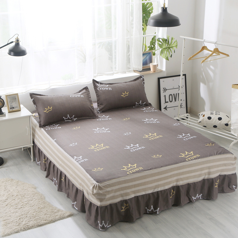 Home Textile Aloe Cotton Bed Skirt Bed Linen Lace Bedspread Cartoon Bed Cover Twin Full Queen