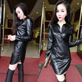 2016 Winter Sexy Women PU Dress Leather Dress Long Sleeve Turn-Down Collar Mini Party Plus Size Dresses Black H6999
