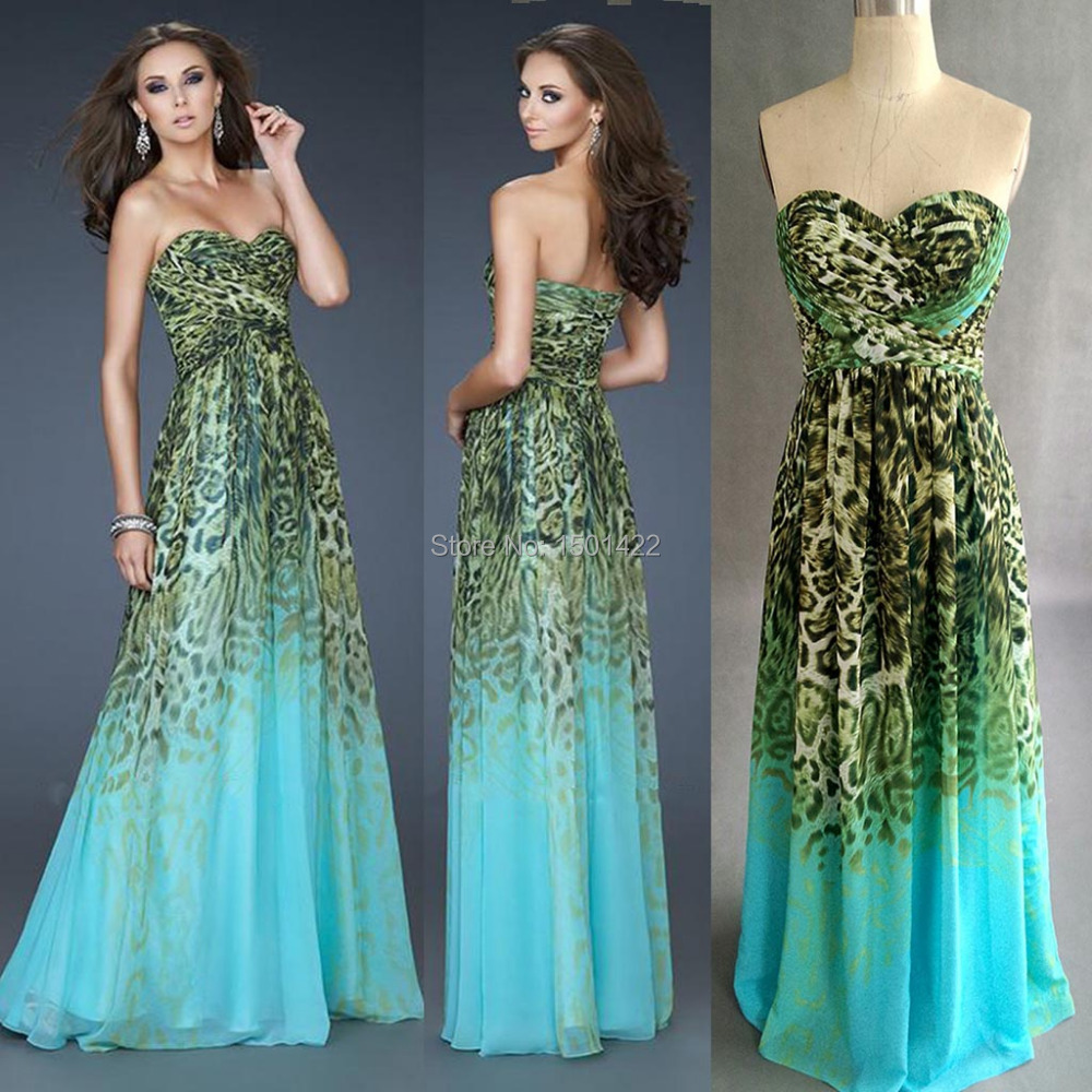 2015 Real Image Ombre Leopard Prom dresses Ombre Printed Evening ...