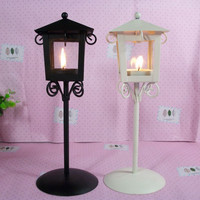 European Style Vintage Retro Candlestick Kiosk Garden Hanging Glass Tealight Holders Iron Lantern Hanging Glass Candle