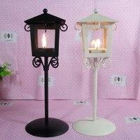 European Style Vintage Retro Candlestick Kiosk Garden Hanging Glass Tealight Holders Iron Lantern Hanging Glass Candle