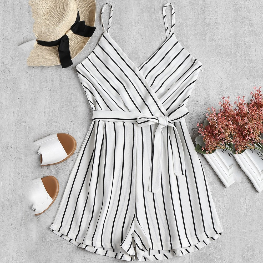 Fshion Bodysuits Playsuits Womens Sleeveless Strappy Short Playsuits Striped Cami Belt Romper   Jumpsuit