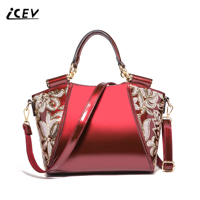 ICEV New European Fashion Organizer Women Leather Handbags Bags Handbags Women Famous Brands Flower Patent Leather Ladies Totes icev new simple genuine leather handbags high quality top handle bags handbags women famous brands flower ladies organizer totes