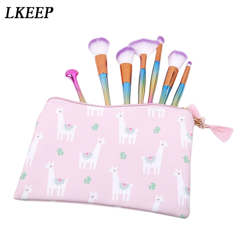 New Women Portable Cute Alpaca Multifunction Beauty Travel Cosmetic Bag Organizer Case Makeup Make up Wash Pouch Toiletry Bag 3pcs set women transparent cosmetic bag clear zipper travel make up case makeup beauty organizer storage pouch toiletry wash bag
